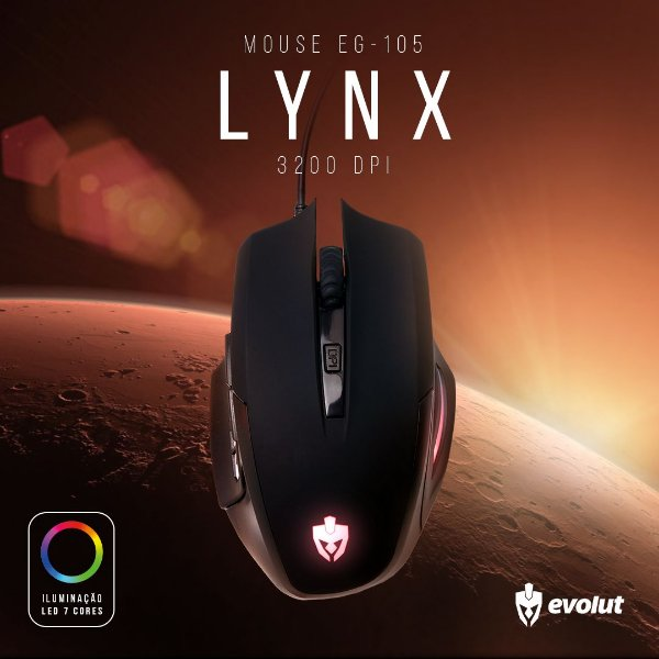 Mouse Gamer Evolut LYNX Usb Led RGB 3200 DPI EG-105