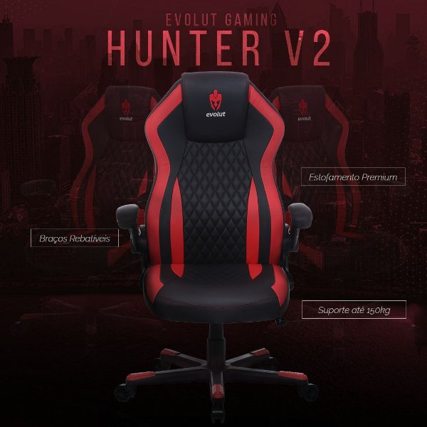 Cadeira Gamer Evolut HUNTER V2 - EG-902 - 150KG