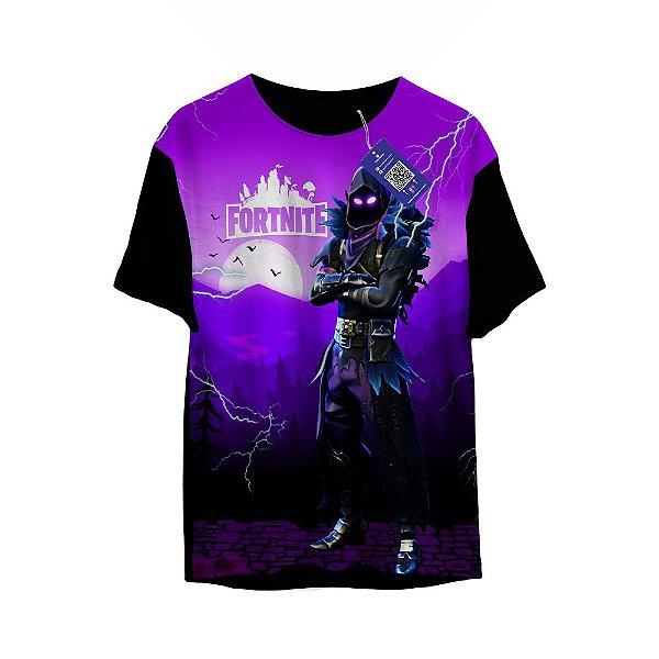 Camiseta Fortenite - Corvo Fundo roxo