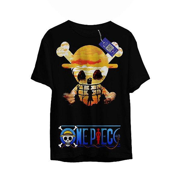 Camiseta One Pice - Bandeira Pirata Luffy