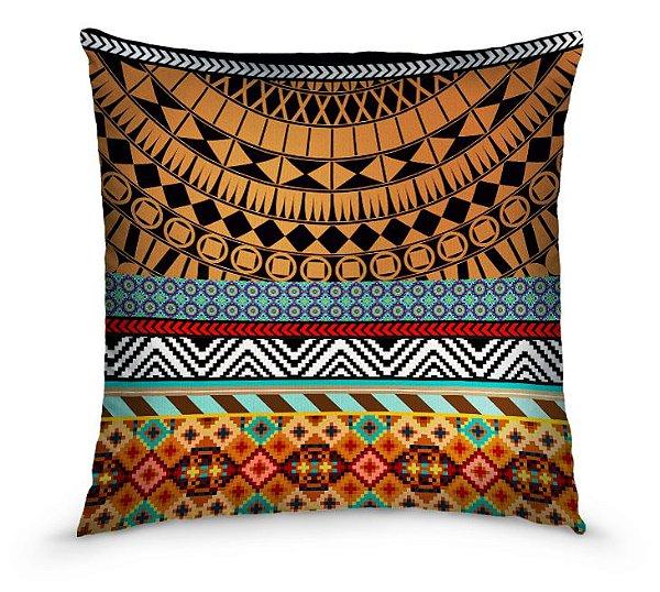 Kit com 02 capas de almofadas estampa Maori