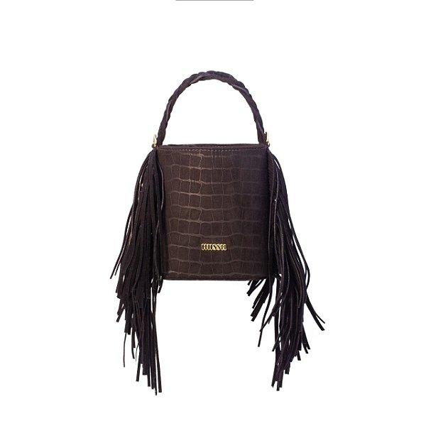 BAG TATI - Bolsa saco com franjas Croco preto