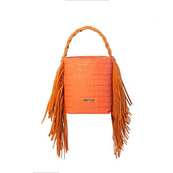 BAG TATI - Bolsa saco com franjas Croco Açafrão