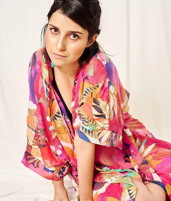 Kimono de seda floral