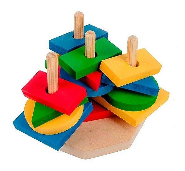Torre Formas Geométricas 16 Peças em Madeira Educativo