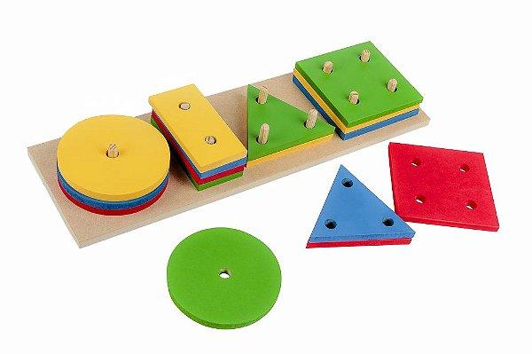 Prancha de Formas Geométricas em Madeira Infantil Pedagógico