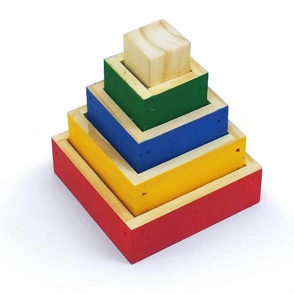 Torre de Aprendizagem Cubos de Encaixe Infantil Didático