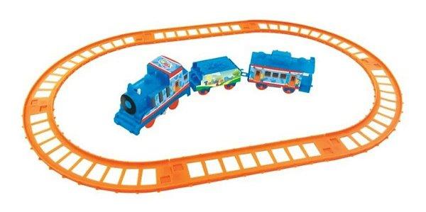Trenzinho Piuízinho Elétrico Trem Infantil 9 Peças A Pilha