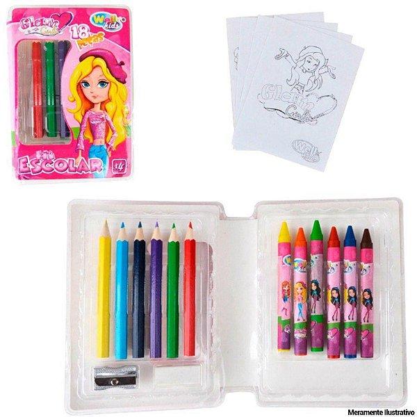 Kit Estojo de Colorir 18 Peças Infantil Escolar Girls Lindinha