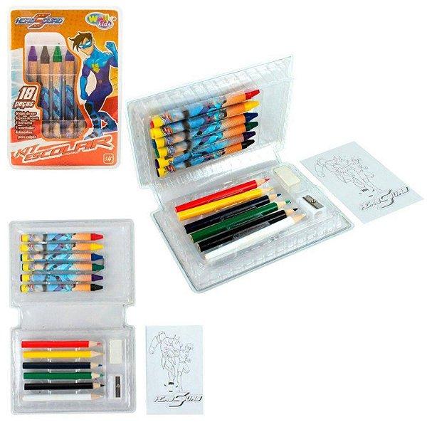 Kit Estojo Maleta de Colorir 18 Peças Infantil Escolar Boys