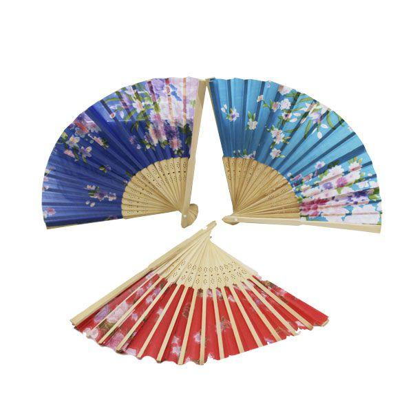 Leque Madeira Japonês Ventilador de Mão Estampado Chique