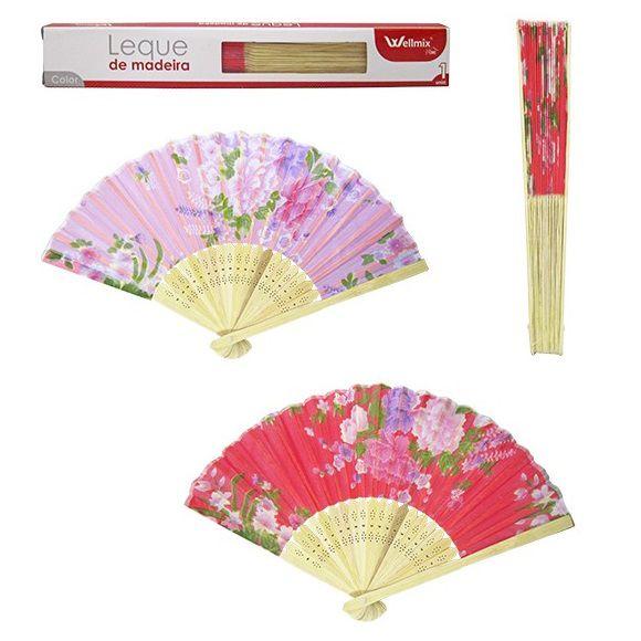 Leque de Madeira Bambu Madame Chique Estampado Bambu