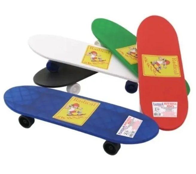 Skate Radical Colorido Infantil 4 Rodas Brinquedo Plástico
