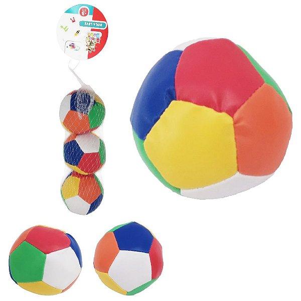 Kit c/ 3 Bolinhas Pedagógicas e Macias Sensorial Baby