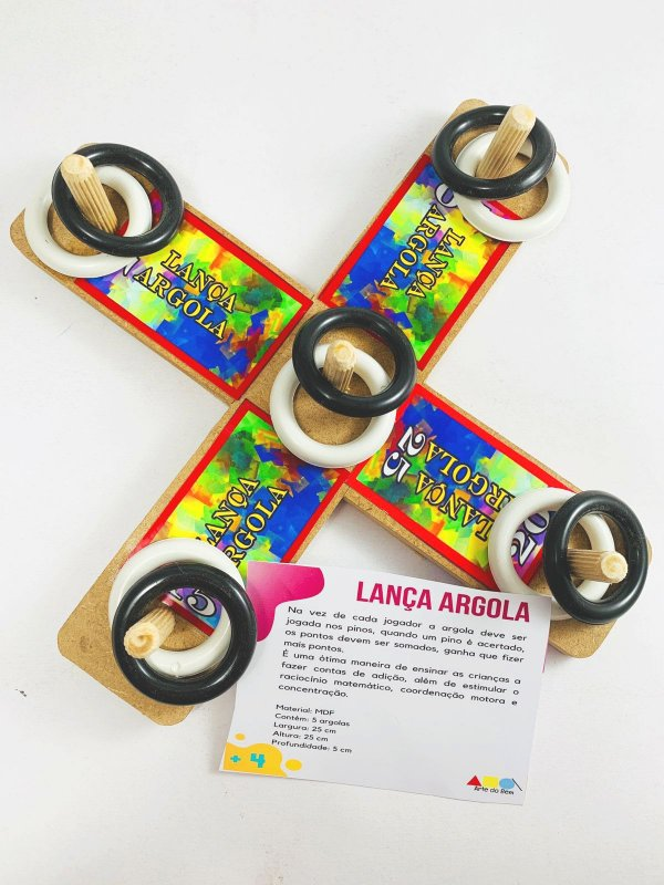 Jogo Lança Argola com Pinos Pedagógico Infantil Woodtoys