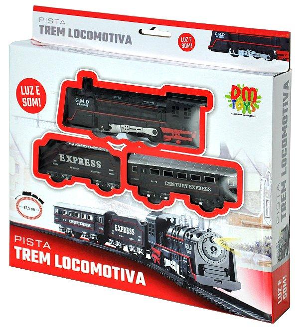 Pista Trem Locomotiva Com Luz e Som com 67,5cm Completo