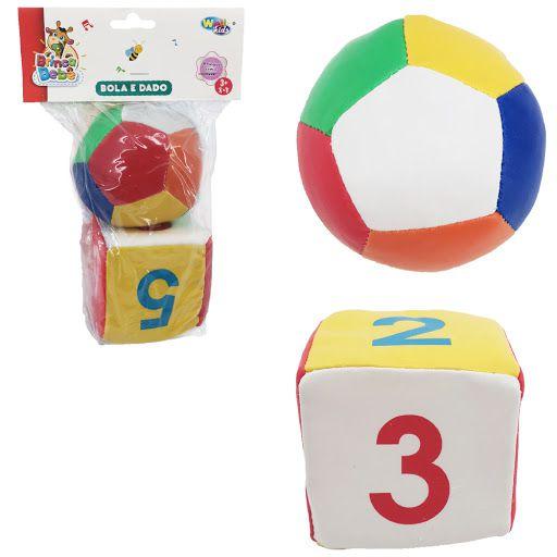 kit Sensorial Bola e Dado Colorido Baby Kids Fofinho 2 Peças