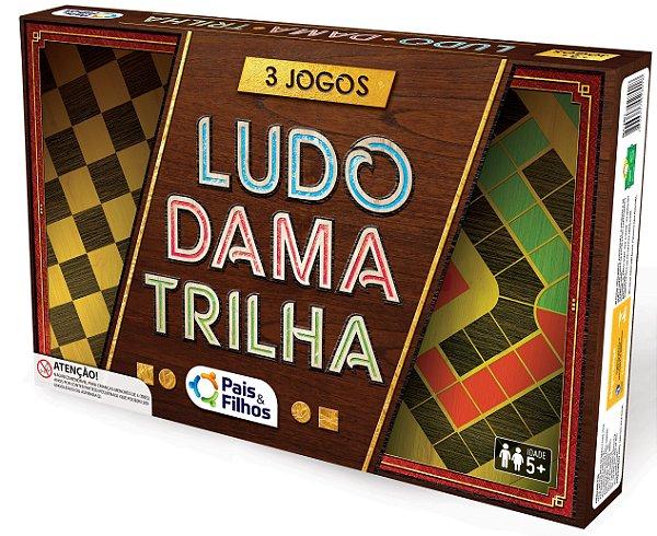 Kit 6 Jogos com DAMA / LUDO / XADREZ / TRILHA / DOMINÓ / FORCA