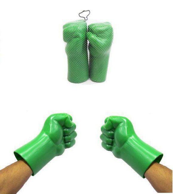 Kit Máscara e Par de Luvas do Hulk Fantasia Verde Aventuras