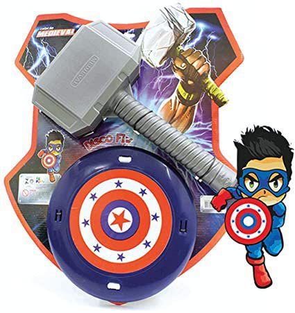 Kit Martelo Thor + Escudo Capitão América Heróis Fantasia