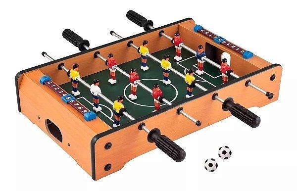Mini Mesa de Pebolim Futebol Totó 51x31x10cm em Madeira