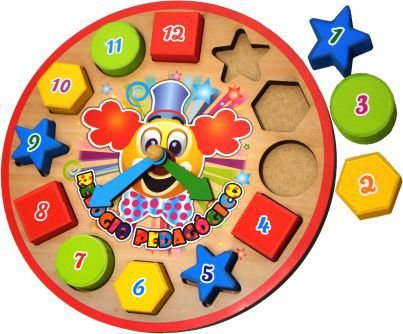 Relógio Pedagógico e Educativo Brinquedo Palhacinho em Madeira