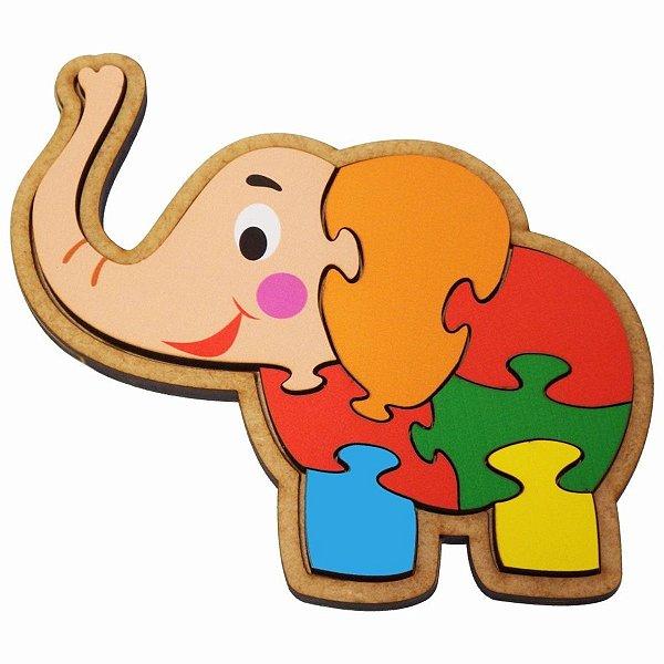 Quebra-Cabeça Infantil Elefante Educativo Pedagógico Madeira