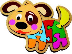 Quebra-Cabeça do Cachorrinho Brinquedo Educativo em Madeira