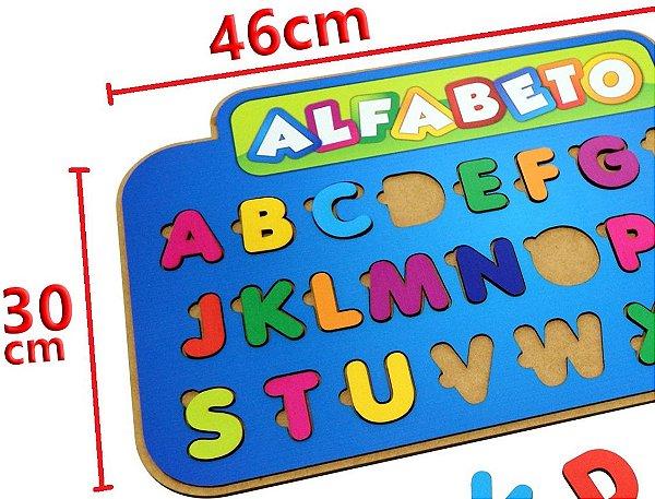 Painel Alfabético Em Madeira Educativo 26 Letras Escolar