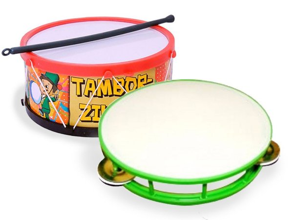 Kit Pandeiro E Tambor Infantil Musicalidade Educativo