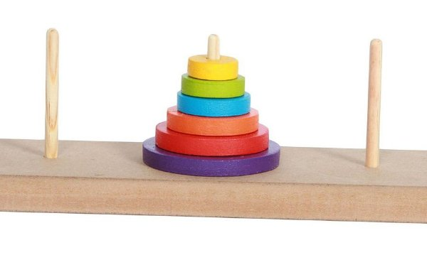 Torre de Hanói em Madeira Colorido Woodtoy Brinquedo Educativo