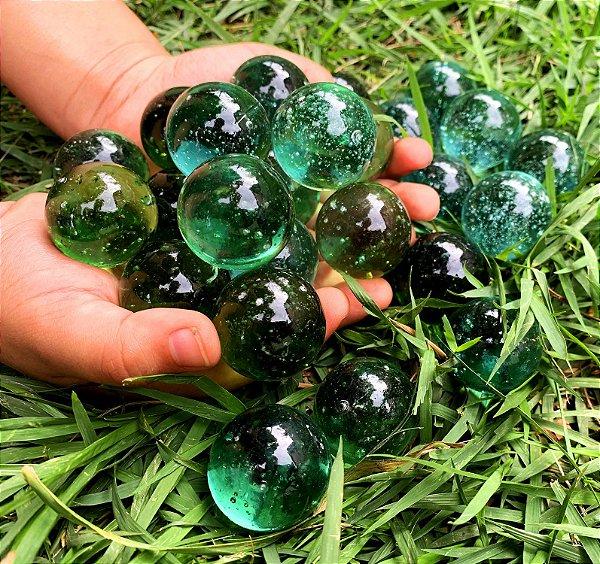 10 Bolões Bolinhas de Gude 28mm Verde Nacional de Vidro