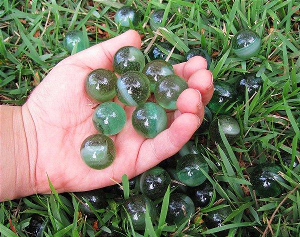 300 Bolinhas Gude Fantasia Verde Nacional de Vidro Natural