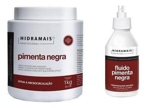 Kit Hidramais Creme Pimenta Negra 1kg + Fluido Termoativo