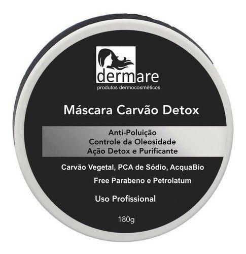 Mascara Facial Carvão Detox Limpeza De Pele Oleosa Dermare