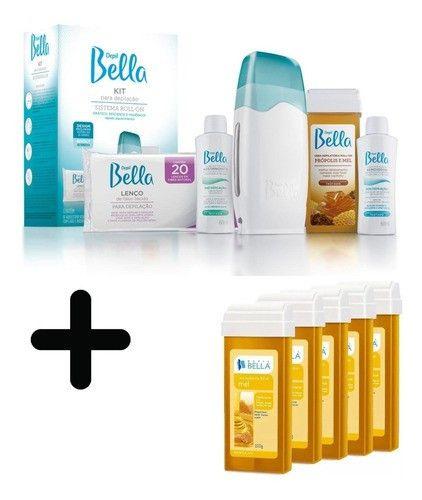 Kit Depilação Roll-on Bivolt Depil Bellla + 5 Cera Refil