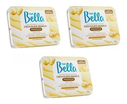 Cera Depilatoria Chocolate Branco Depil Bella 800g 3un