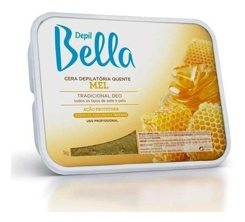 Kit 2un Cera Depilatoria Quente Depil Bella Em Barra Mel 1kg