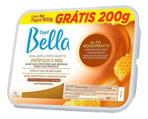 Cera Depil Bella Em Barra 1kg Propolis E Mel - 1 Unid