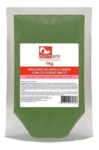 Argila Verde Com Colageno 1kg ( Estetica ) - Dermare