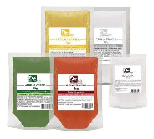 Kit Argila Verde, Vermelha, Amarela, Branca 1k E Dolomita