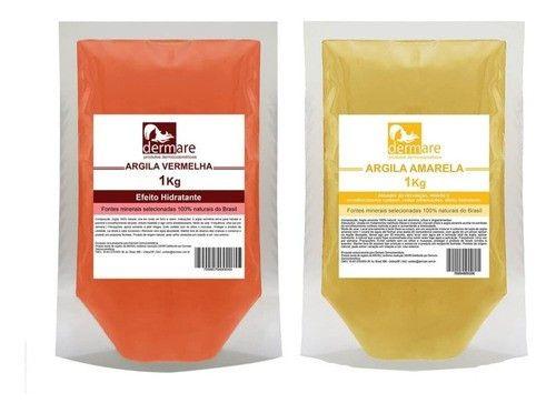 Kit Argila Vermelha E Amarela 1kg - 100% Naturais - Dermare