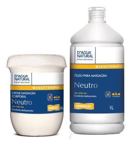 Combo Oleo E Creme De Massagem Corporal Neutro Dagua Natural