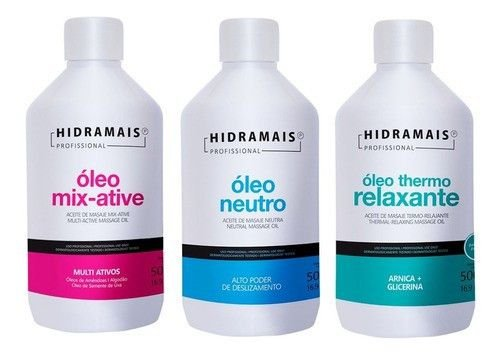Kit Oleo Massagem Neutro+mixative+relaxante Hidramais 500ml
