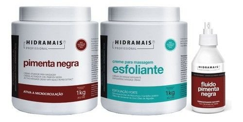 Kit Hidramais Pimenta Negra + Esfoliante + Fluido Termico