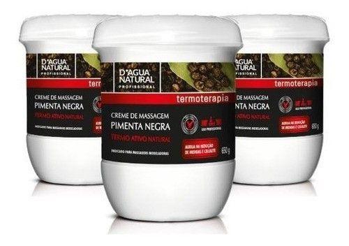 Kit Com 3 Creme De Massagem Pimenta Negra 650g