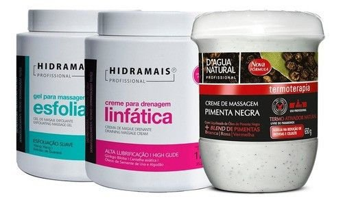 Kit Redutor Pimenta Negra650g + Esfoliante1kg + Linfatica1kg