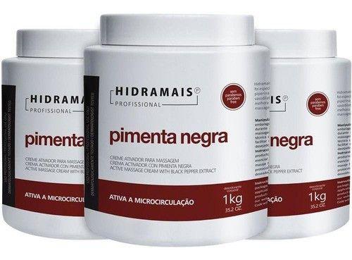 Kit 3 Hidramais Creme Massagem Modeladora Pimenta Negra 1kg