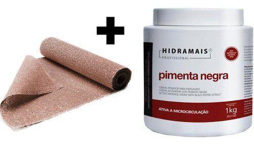 Creme Massagem Modeladora Pimenta Negra 1kg + 5 Atadura Cafe