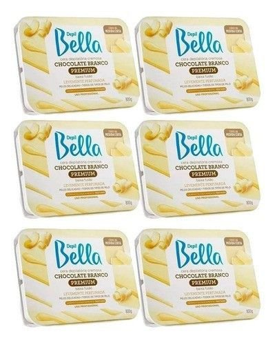 Cera Chocolate Branco 800g Depil Bella 6 Unidades